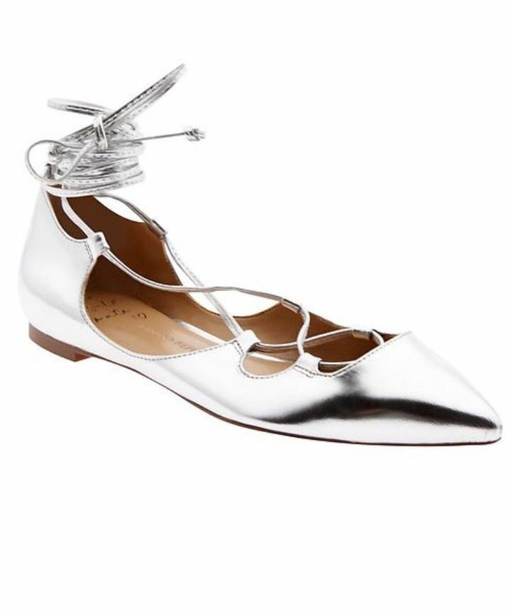 Banana Republic Allie Lace-Up Flat, Silver SIZE 8.5   #183426