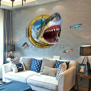 shark bedroom decor 3d shark mural removable wall sticker vinyl 13143