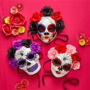 Day of the dead skull paper mache halloween mask flowers ribbon image is loading day of the dead skull paper mache halloween mightylinksfo