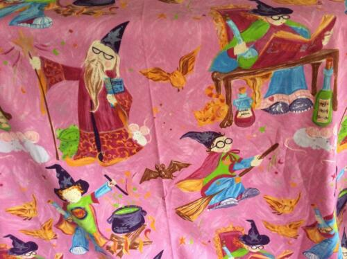 PINK HARRY POTTER ISH COTTON FABRIC HALLOWEEN WIZARDS SPELLS POTIONS 138 x 50