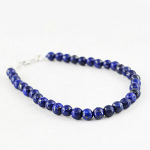 66.00 Cts Earth Mined Untreated Blue Lapis Lazuli Round Beads Bracelet (RS)