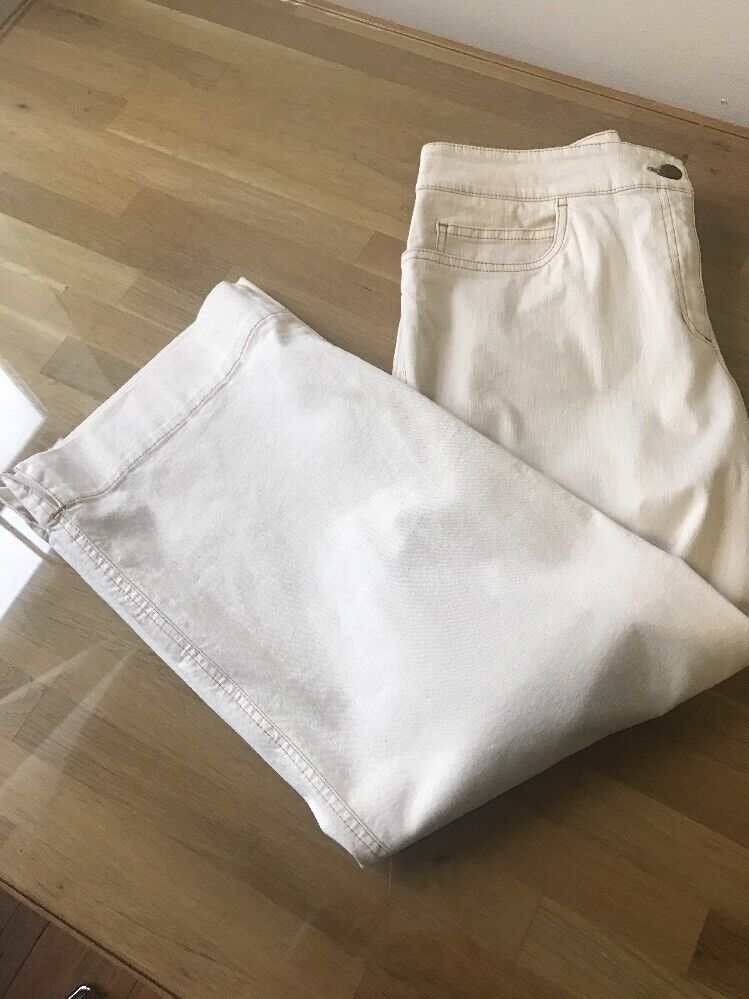 Eileen Fisher Cotton Blend Wide Leg Casual Pants, size M