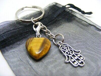 Natural Tiger Eye Crystal Heart /& Hamsa Hand Charm Keyring With Gift Bag