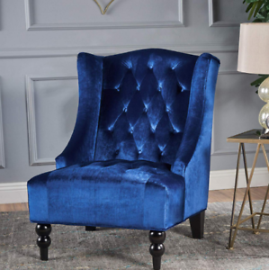Velvet Chair Tall Wing Back Tufted Club Armchair Blue