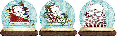 SET OF  9 POLAR BEAR CHRISTMAS (116) SCRAPBOOK EMBELLISHMENTS HANG GIFT TAGS