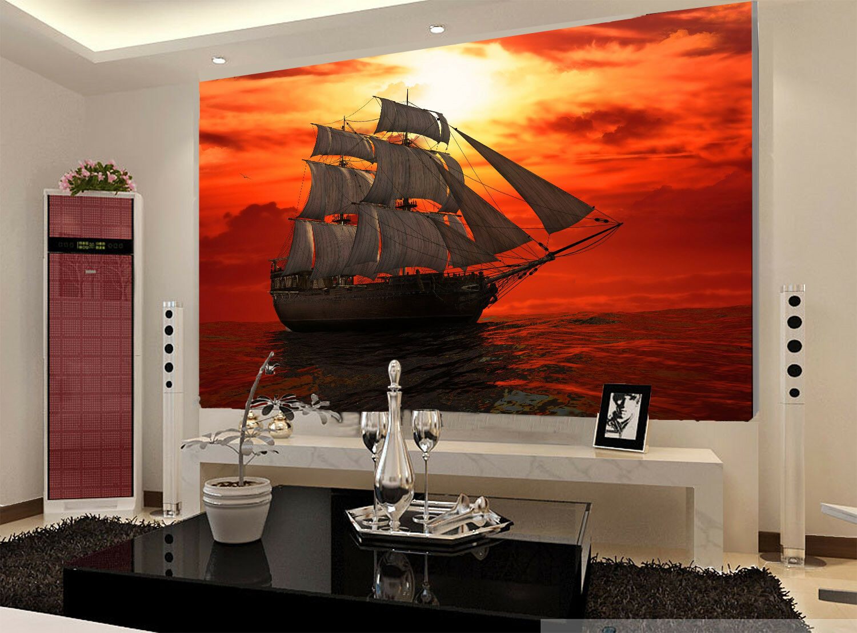3D Sunset Ship 425 Wallpaper Murals Wall Print Wallpaper Mural AJ WALL AU Summer
