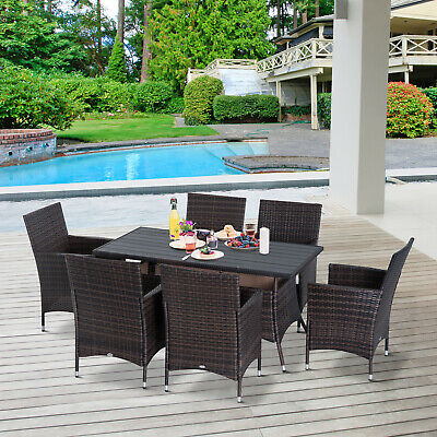7 Piece Dining Set Rattan Furniture Garden All Weather Steel Black Brown