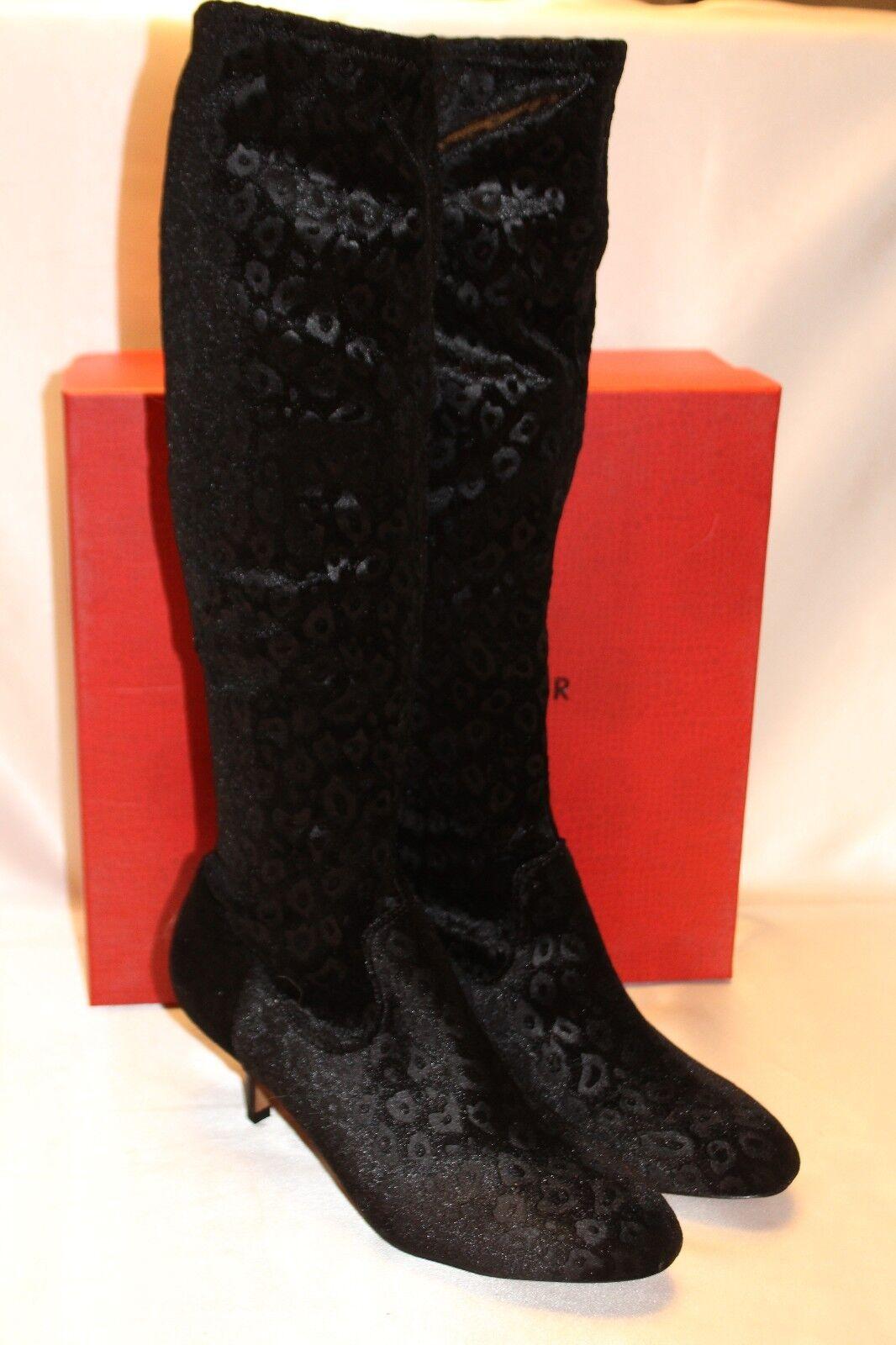 nuevo  nuevo En Caja  Donald J Pliner Impresión De Terciopelo Negro de Alto Estiramiento Yazi botas 2-SU