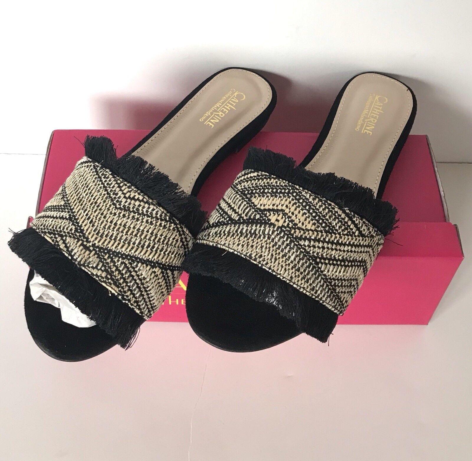 CATHERINE MALANDRINO Reina Black Slide Open Toe Embroidered Fringe Sandals Sz 8