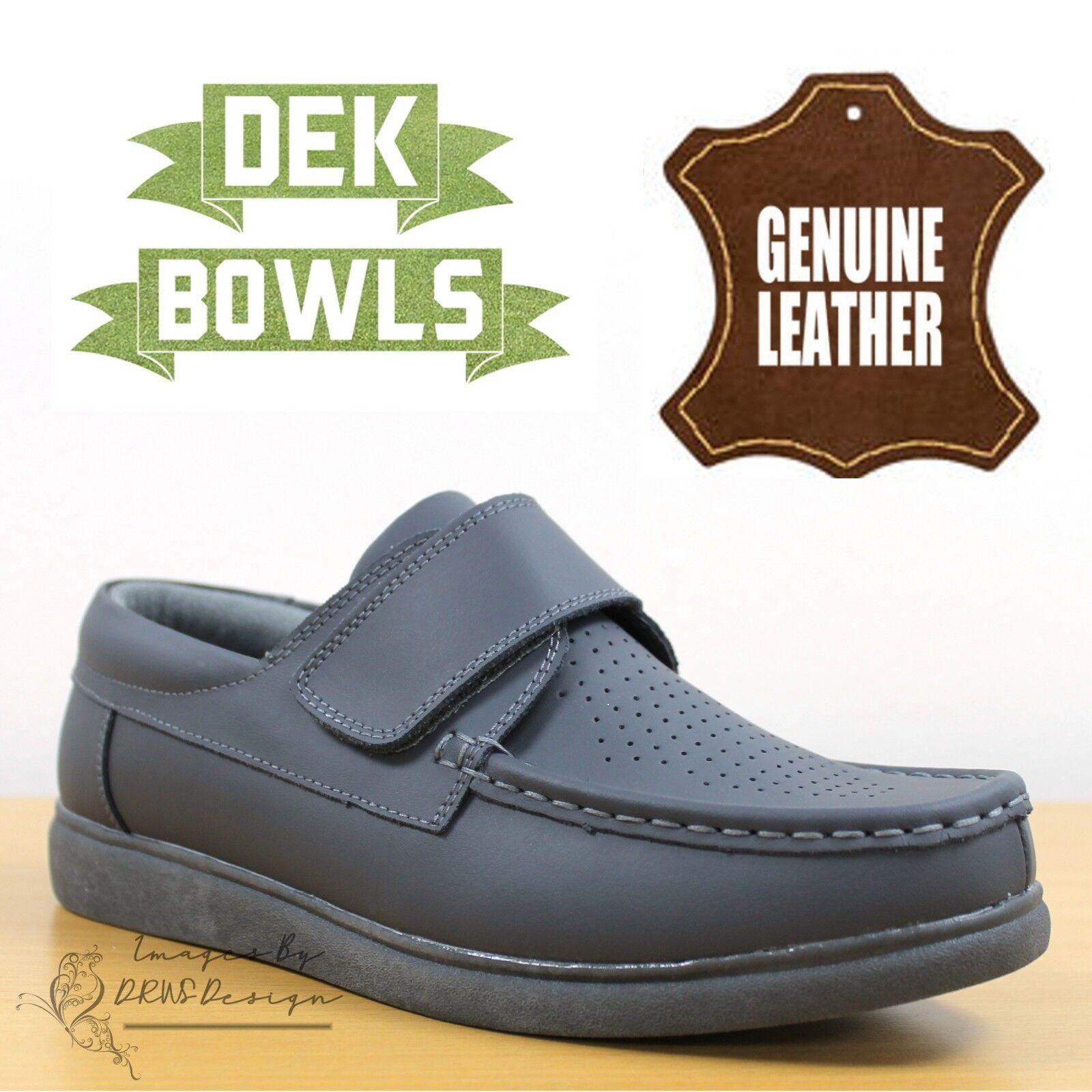 DEK Bowls Unisex Leather Lawn Bowls Trainers Grey Comfort Men's & Women's shoes