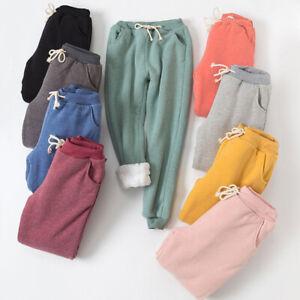 Womens Warm Sherpa Lined Fleece Sweatpants Athletic Pants