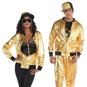 brand new 77ec7 0647b Dettagli su Hip HOP Oro Luccicante Giacca Adulto Uomo Donna 80s RAPPER  1980s Costume Vestito- mostra il titolo originale