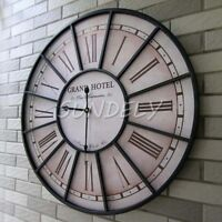 60cm Large Black Roman Numeral Wall Clock for Home / Garden / Indoor