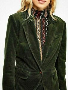 Button Ob868198 in Giacca Free coste Up People Heidi Womens di velluto a pelle Up Green Forest q1HUz1