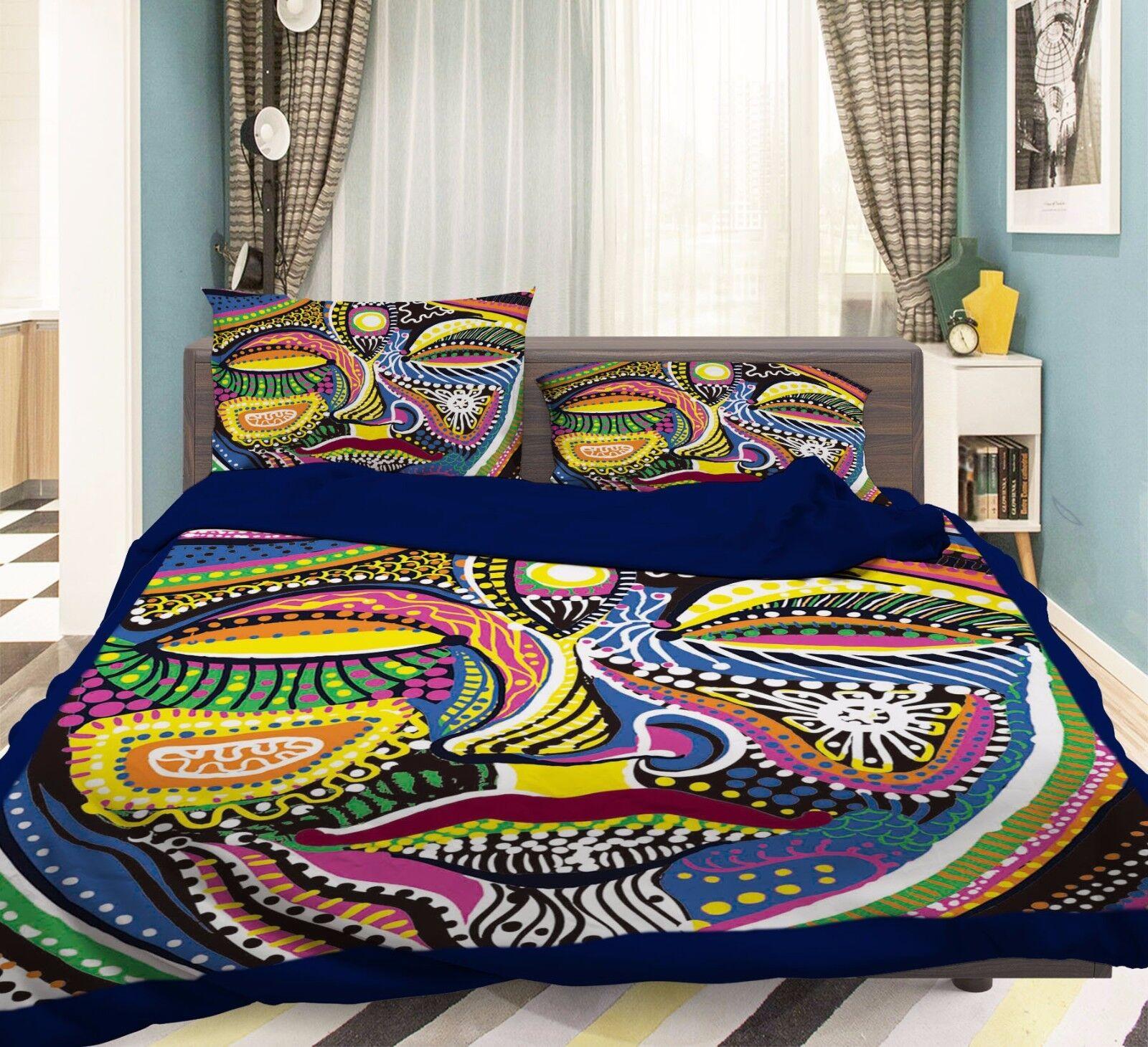 3D Colour Paint 916 Bed Pillowcases Quilt Duvet Cover Set Single Queen UK Summer
