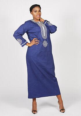 UK10,12,14,16,18 African Dashiki Embroidered Polished Cotton Kaftan Dress Size