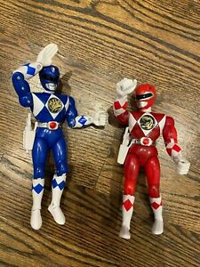"""Power Rangers 1994 Karate Action Blue and Red Bandai 8"""" Figures - with Guns MMPR"""