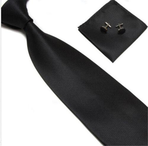 Woven Silk HandMade Mens Tie Cufflinks and Handkerchief Gift Set Hanky Necktie