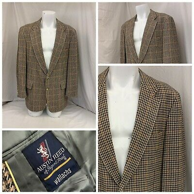 Austin Reed Blazer 44r Brown Check 100 Wool Made In Ireland Euc Ygi R0 112 Ebay