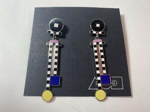 "Vintage ACME Studio ""Pawn 2"" MEMPHIS Earrings by Adrian Olabuenaga NEW"