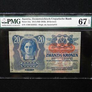 Austria-1913-ND-1919-20-Kronen-Pick-53a-PMG-67-EPQ-Superb-Gem-Uncirculated