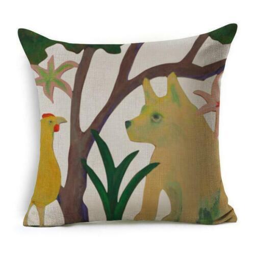 3D Cute Cartoon Dog Cotton Linen Throw Pillow Case Cushion Cover Home Decor