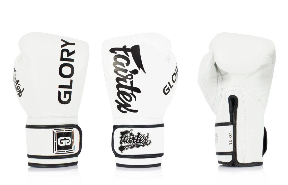 Genuine Fairtex  Limited Edition GLORY Boxing G s Leather WHITE BLK VELCRO G1  fashion