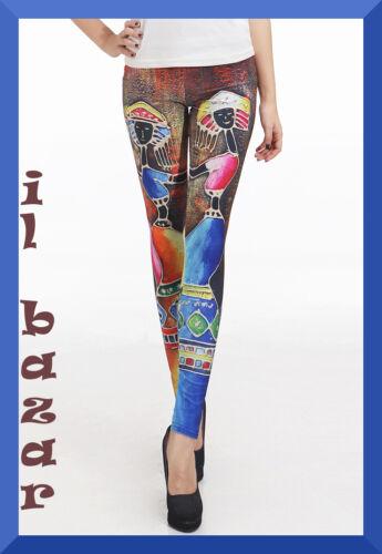 """leggings etnico/""""femme fatale/"""" taglia unica"""