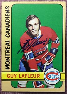 SIGNED-1972-73-Topps-79-GUY-LAFLEUR-2nd-YEAR-CARD-EX-NM-CONDITION