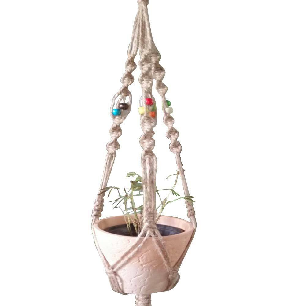 Handcrafted Braided Rope Macrame Hanging Basket Flowers Pot Holder Plants Hanger