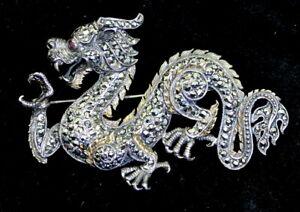 Estate-Large-Vintage-Dragon-Sterling-Silver-Marcasite-amp-Ruby-3-034-Brooch