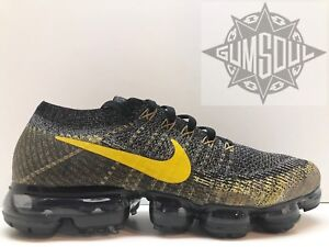 137d3ae4 Image is loading NIKE-AIR-VAPORMAX-FLYKNIT-RUNNING-BLACK-MINERAL-GOLD-