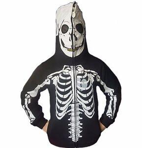 Boys Youth Jumper Hoodie Black/White Zip Over Skeleton Skull Hoody Size 4-16