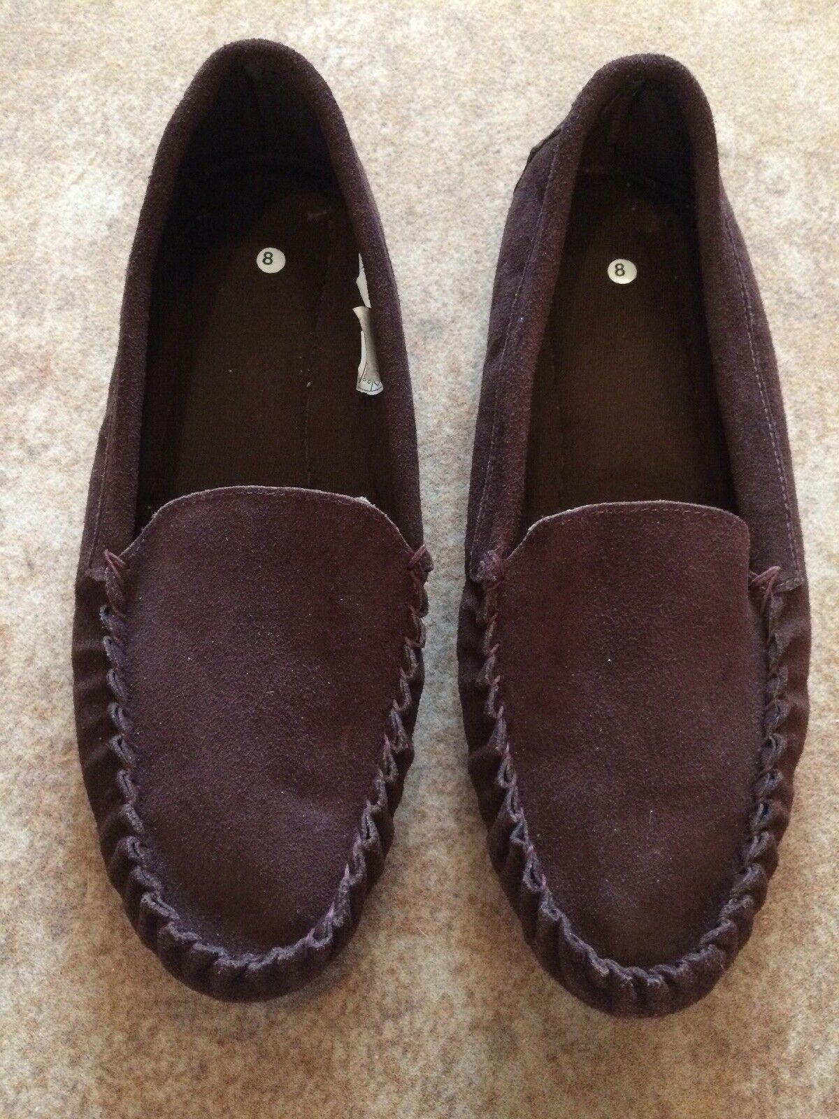 Men's Brown Leather Suede Loafer shoes Size 8