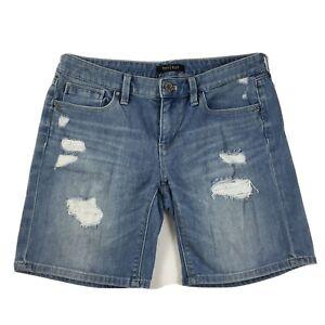 White-House-Black-Market-Women-039-s-Girlfriend-Jean-Shorts-Size-2-Denim-Distressed