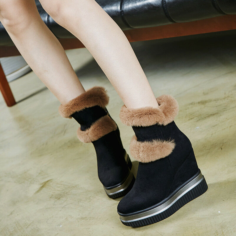 Women Wedge Heels Fur Trim Side Zip Platform Winter Ankle Boots Fashion shoes