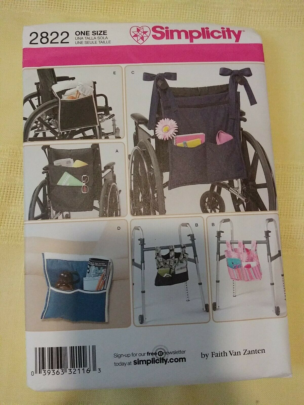 Simplicity Wheelchair /& Walker Accessories Sewing Pattern 2822