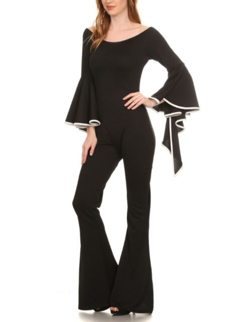 4262b789fbb2 Black White Off Shoulder Ruffle Bell Sleeve Club Jumpsuit Wide Flare Pants