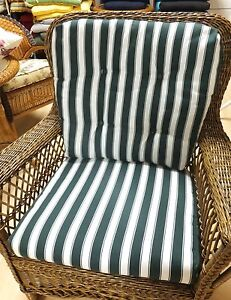 Details About Striped Chair Cushion Set Green White
