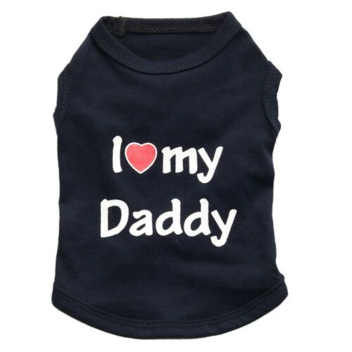 Cute Dog Cat Puppy Pets Fashion Clothes I Love Daddy Mommy Shirt Apparel