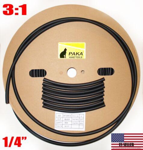 "6.4 mm 1//4/"" DUAL WALL Black Heat Shrink Tubing  3:1  Glue Lined Tube 25 FEET"