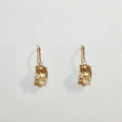 Citrine Diamond Alternatives Heart Dangle Earrings 14k Yellow Gold over 925 SS
