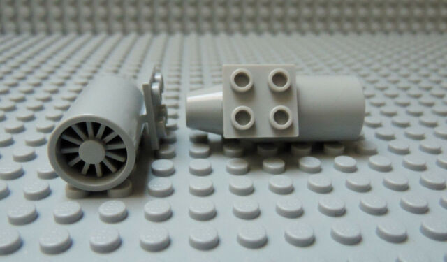 Lego White JET ENGINE  Smooth 2x2 Plate on Top with Lt Bluish Gray Turbine PAIR
