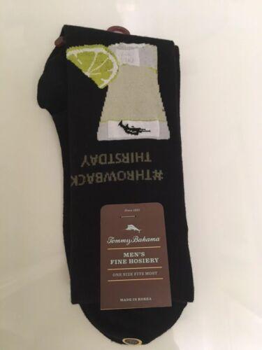 "NEW Tommy Bahama Socks ""THROWBACK THIRSTDAY"" Margarita Black Combed Cotton Socks"