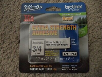 8m Brother Genuine TZe-S241 TZS241  18mm Black On White Strong Adhesive Tape