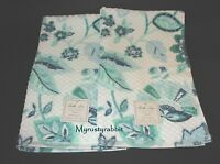 Bella Lux Bathroom Hand Towels Set Of 2 - Blue Green Floral & Leaves -