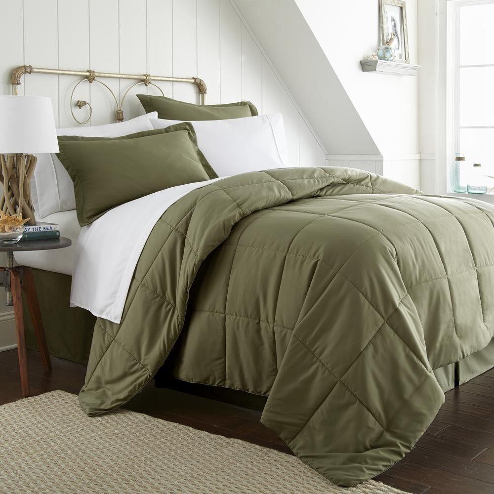 Bedding Set Bed in a Bag w  Double-Brushed Microfiber King Größe, Grün (8-Piece)