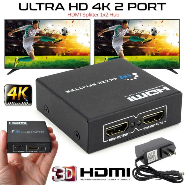 NEW 1 INPUT 2 OUTPUT HDMI SPLITTER 2 WAY SWITCH BOX HUB SUPPORT FULL 4K HD  3D