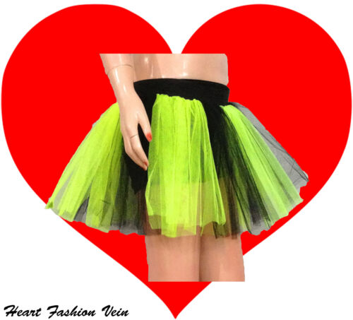 Lime Yellow Black Neon Uv tutu skirt Punk Cyber Rave Dance Rock party Halloween