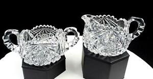 AMERICAN-BRILLIANT-CUT-CRYSTAL-HOBSTAR-amp-CROSSHATCH-2-5-8-034-CREAMER-amp-SUGAR